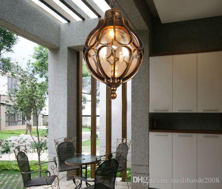 Personalized Vintage Pendant lamps simple outdoor balcony corridor Courtyard Villa Pavilion grape waterproof Pendant Lights MYY
