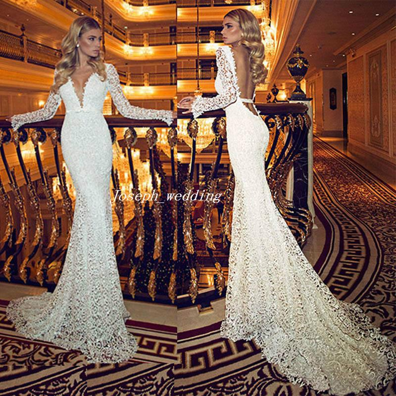 Free Shipping Vintage Deep V Neck Wedding Dress With Sheer Long Sleeves Lace Backless Long Mermaid Elegant Bridal Gown