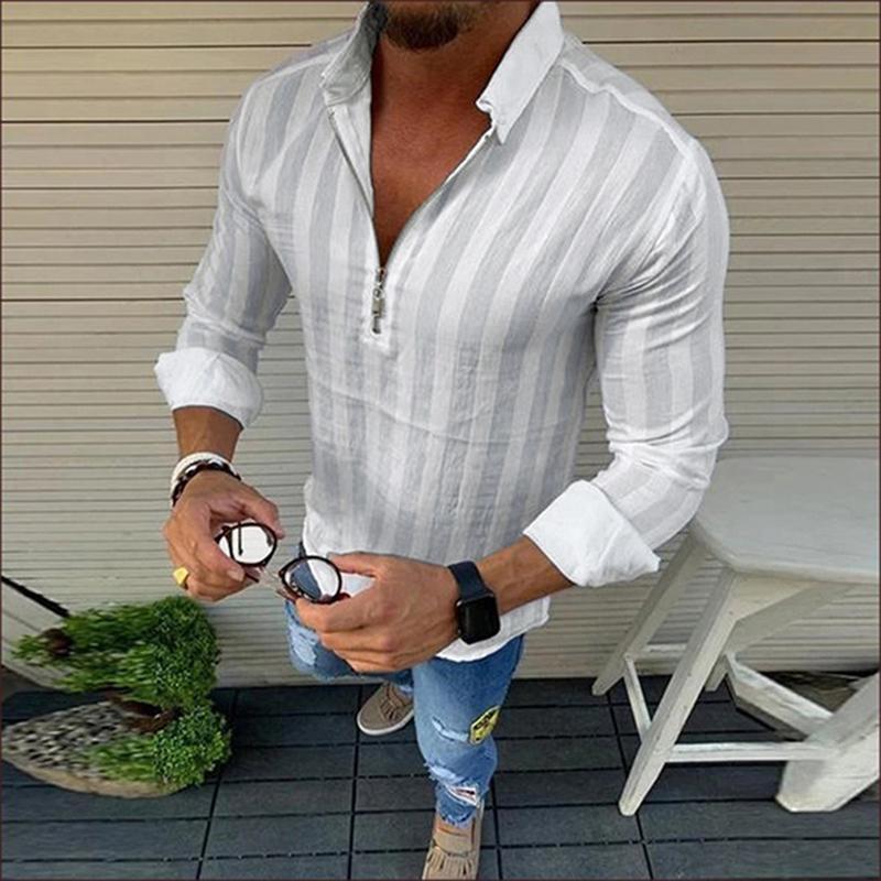 Gestreifte T-Shirts der Männer Breathable Shirts Sozialstreet V-Ausschnitt Reißverschluss-Mann-Bluse
