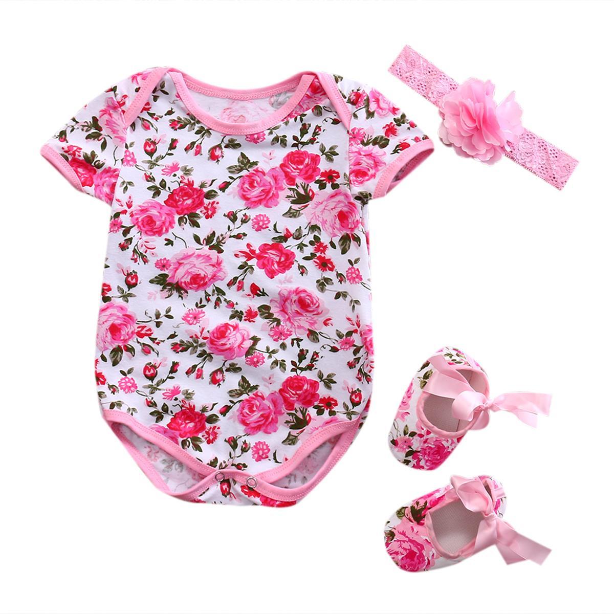 + Meses hairband 3Pcs Outfits Set Roupa 3to6 Bebé recém-nascido Floral leopardo Bodysuits Jumpsuit + Shoe
