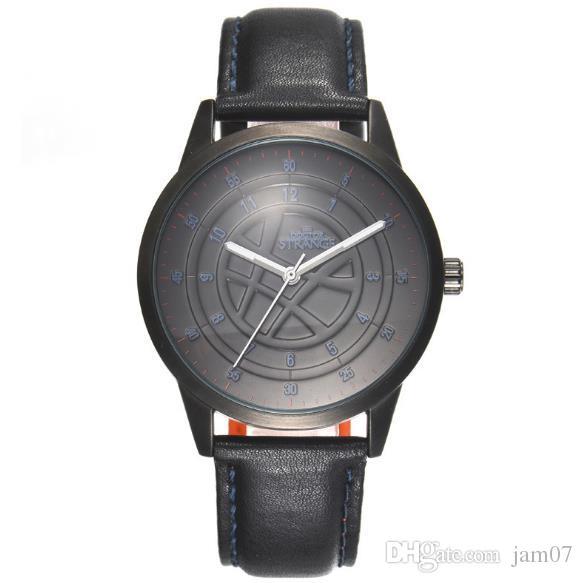 2018 마블 남성 시계 슈퍼 블랙 쿼츠 시계 (248) 패션 캐주얼 방수 시계 가죽 시계 줄을 냉각