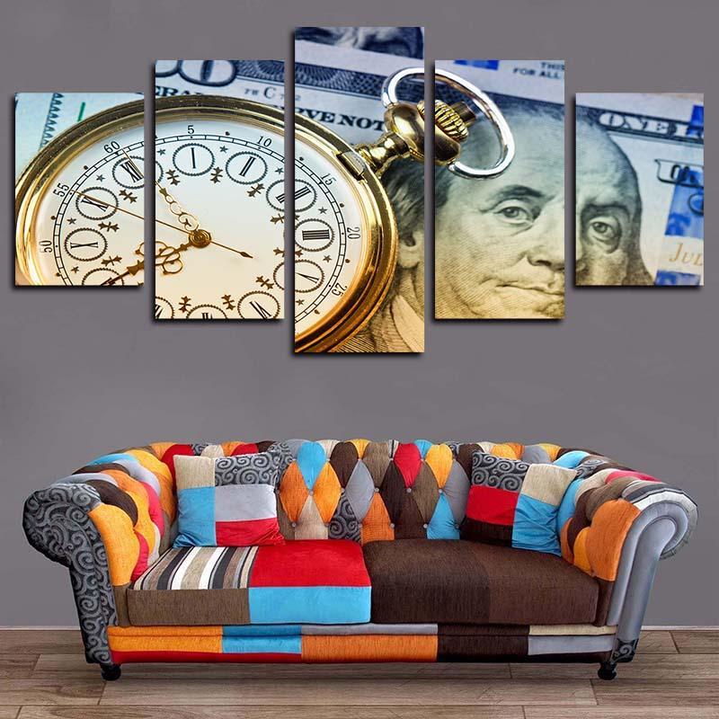 5 панелей карманные часы деньги часы лицо произведения искусства жикле холст стены искусства для малыша Главная Декор стен абстрактный плакат холст печать картина маслом