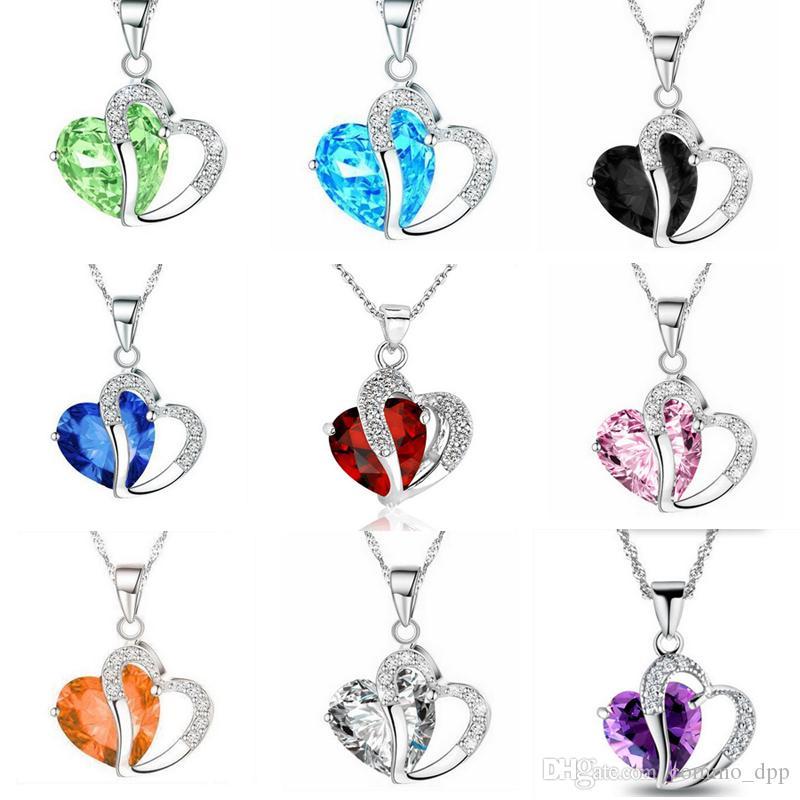 2019 luxo cristal cz colar de coração mulheres cubic zirconia diamante pingente de amor banhado a prata cadeia para senhoras moda jóias presente
