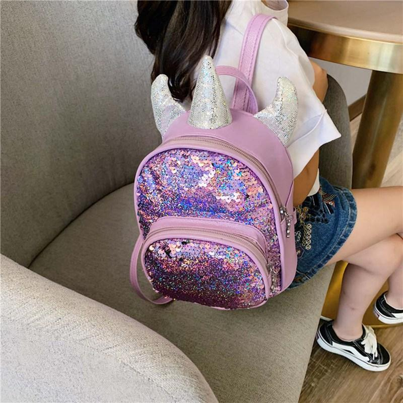 Girls Unicorn Glitter Laser Backpack Kids School Rucksack Bag Funny Gifts UK
