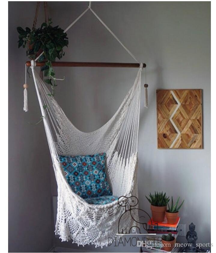 Cotton Rope Swing Chair Home Decoration Outdoor Furniture Mesh Swing Leisure Hanging Chair Hanging Basket Ins Home Wind Cotton Rope Swing White Outdoor Rocking Chair Sale Wood Porch Rocking Chairs From Meow Sports