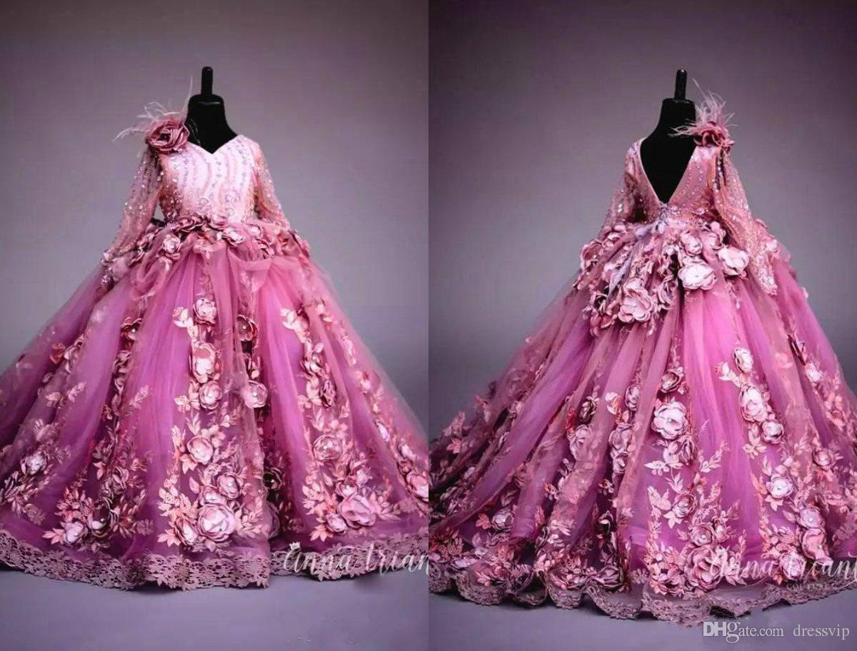 Compre Lujo 3d Flores Hechas A Mano Vestidos De Niña Cuello En V Lentejuelas De Plumas Falda Esponjosa Niñas De Tul Vestidos Del Desfile Perlas