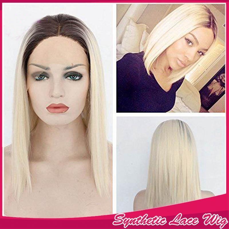 Mode court Ombre Blonde Lace Front Wigs avec bébé cheveux de 613 synthétique cheveux raides perruque blonde Bob pour les femmes noires 150% Densité