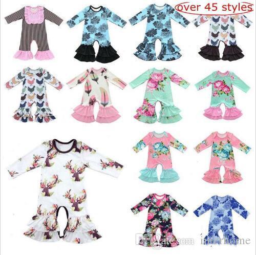 Kids Designer Clothes Baby Romper Onesies Ins Leaf Animal Jumpsuits Long Sleeve Bodysuit Floral Romper Jumpers Dolphins Flower Pajamas LT263