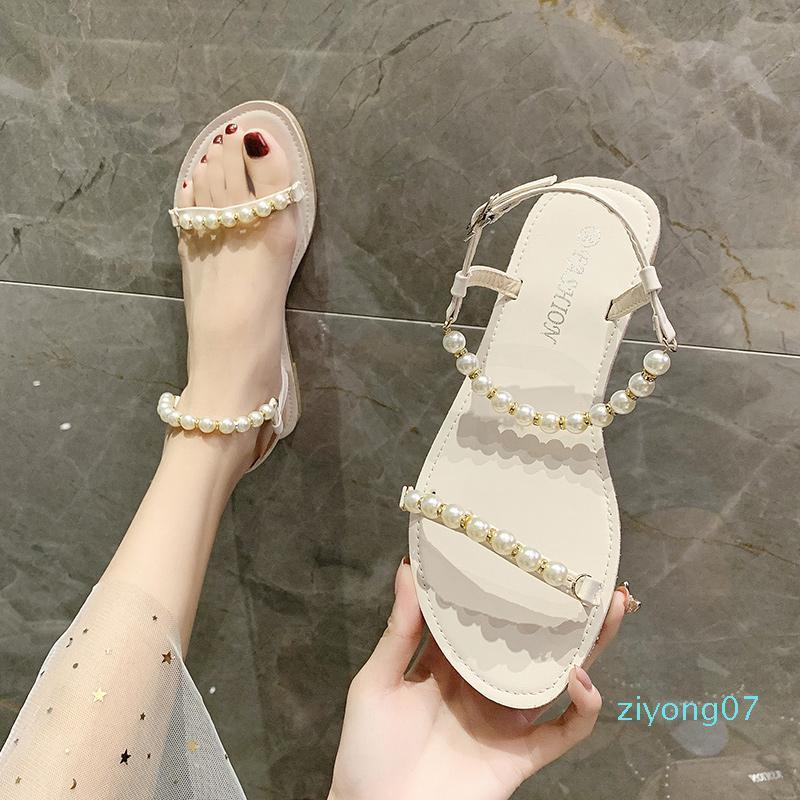 Kadınlar Suit Kadın Bej Toka Kayış Temizle Topuklar Kadın Rahatlık Blok Heeled İnci Düz Moda Z07 için 2020 Sandalet Konfor Ayakkabı
