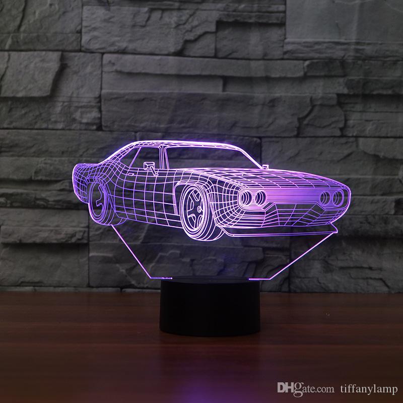 تبريد السيارات الاكريليك 3D مصباح تغير لون 7 ليلة الخفيفة الطفل اللمس مفتاح ملون أضواء LED USB مكتب مصباح الغلاف الجوي Lamparas