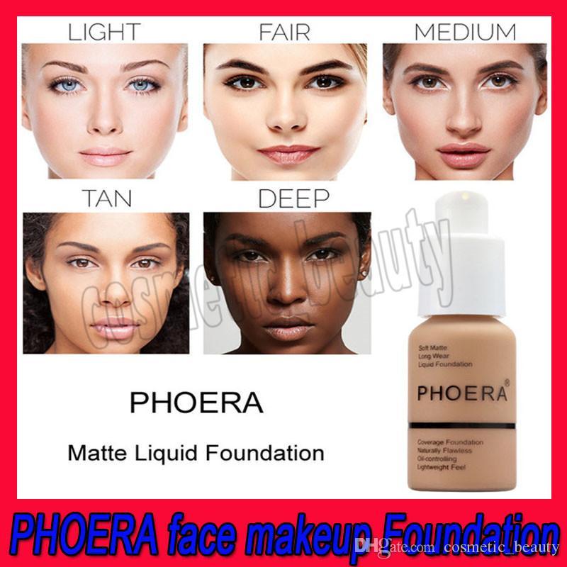 .2019 новый бренд face Makeup Foundation PHOERA Matte Oil-contral Liquid foundation 10 цветов консилер DHL Бесплатная доставка