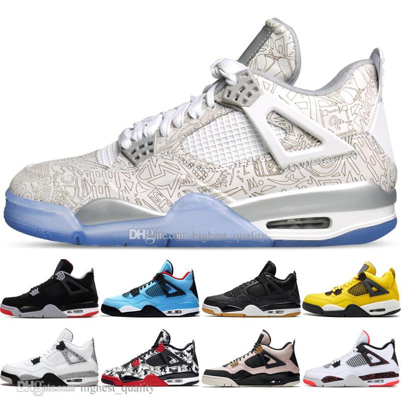 Mejor calidad nueva Bred 4 4s lo que los zapatos Cactus Jack láser Alas de baloncesto del Mens Denim azul pálido Eminem Citron zapatillas deportivas de los hombres