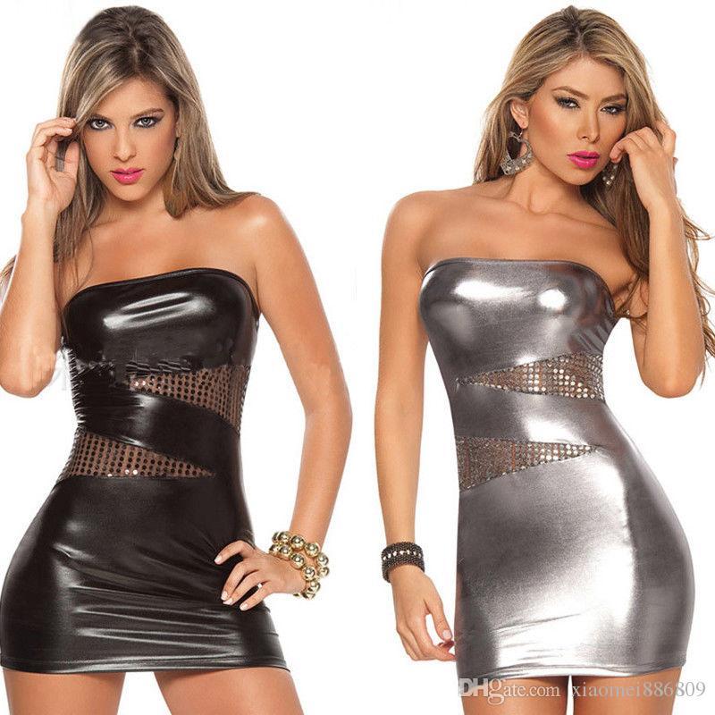 숙녀 단단한 가죽 Bodycon 미니 드레스 한 사이즈 여성 여름 섹시한 민소매 파티 Clubwear 드레스