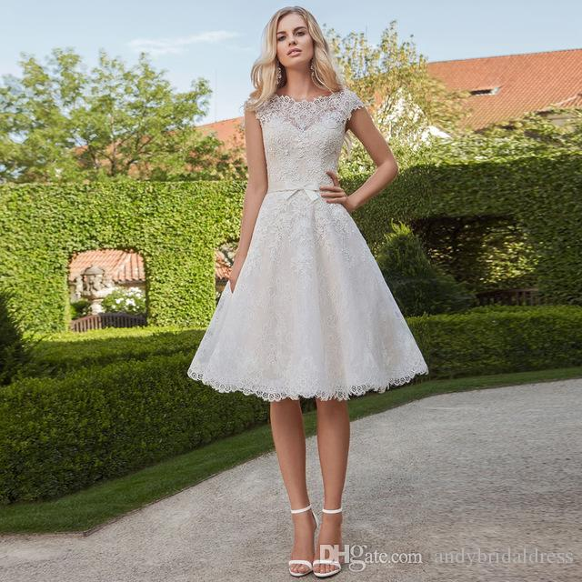 Cap Sleeve Vintage Lace Wedding Dresses 2019 Knee Length Appliqued Bridal Gowns With Covered Buttons Custom Made
