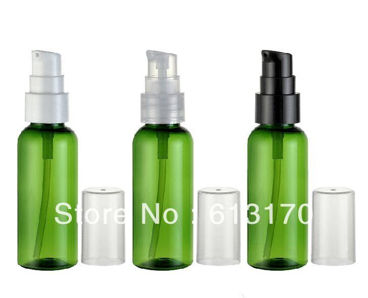 Free shipping 50ml bottiglie in PET bottiglie vuote verde ricaricabile pompa della lozione crema di trattamento contenitore imballaggio cosmetico