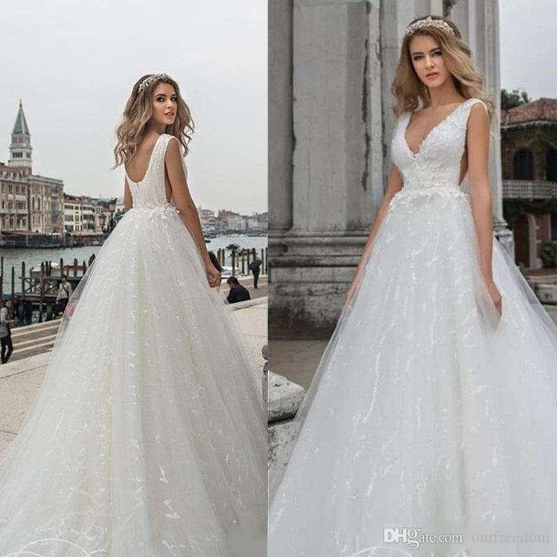 designer fashion on feet shots of thoughts on Discount Grace A Line Wedding Dress Sexy Side Cut Low V Neck Sequin Long  Tulle White Sleeveless Bridal Gowns With Appliques Court Train Plus Size ...