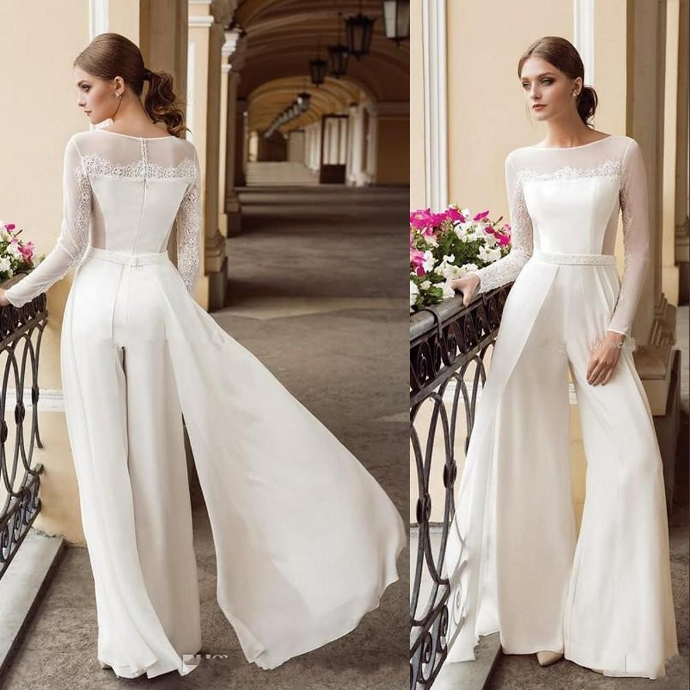 Praia Bohemian mangas compridas Branca Macacões A linha de vestidos de casamento do laço chiffon com overskirts vestidos de noiva calças Vestidos de Novia
