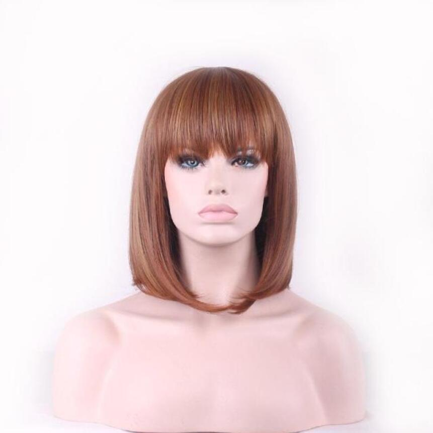 Europäische und amerikanische neue Damen arbeiten gefälschte Haube braun rote Perücke kurze Haare BOBO Kopf kurze glatte Haare Stufe verlängert