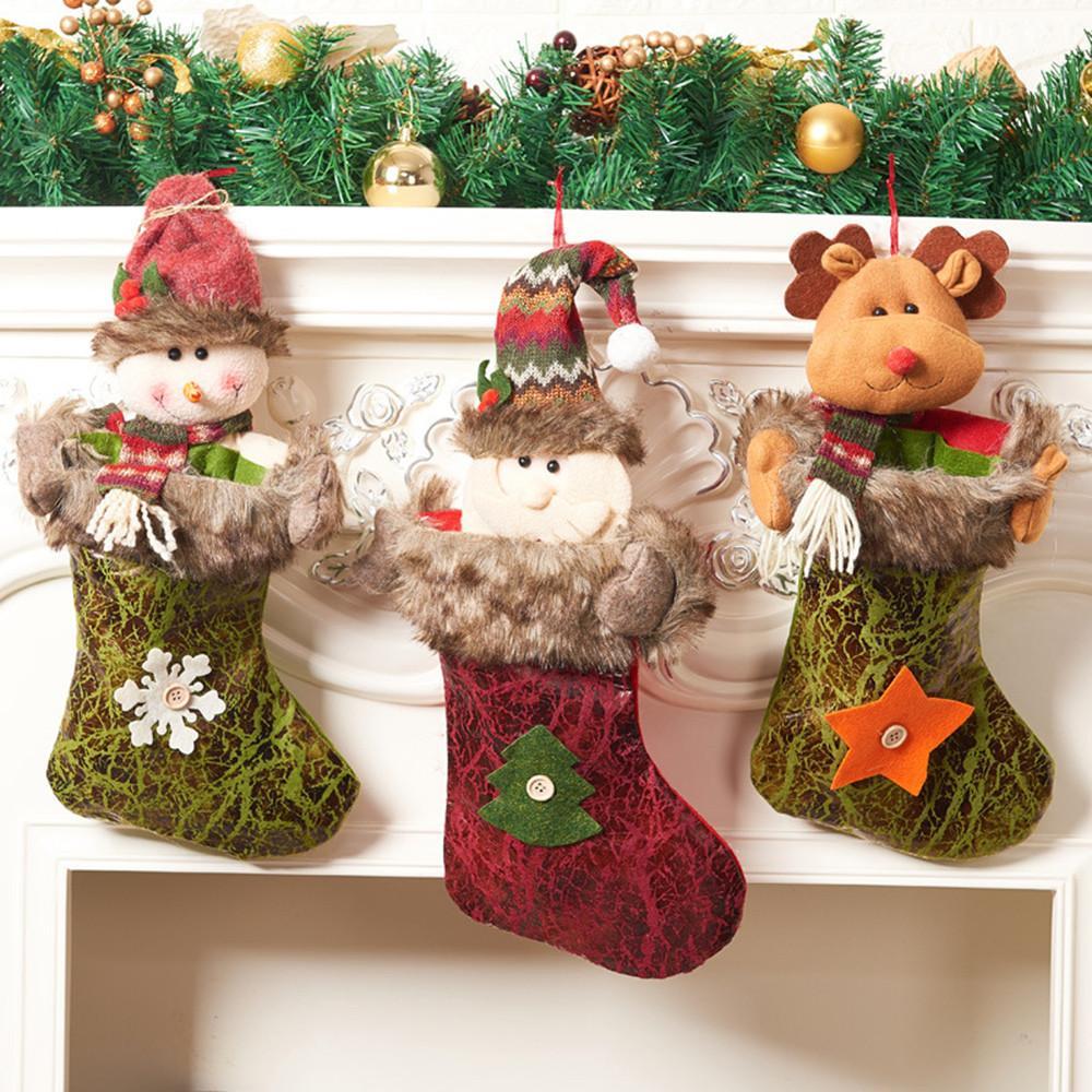 Bolsa de Navidad que almacena el mini calcetín de Papá Noel del regalo del caramelo del árbol de Navidad colgantes Decoración Decoración de Noel Adornos de Navidad para el hogar