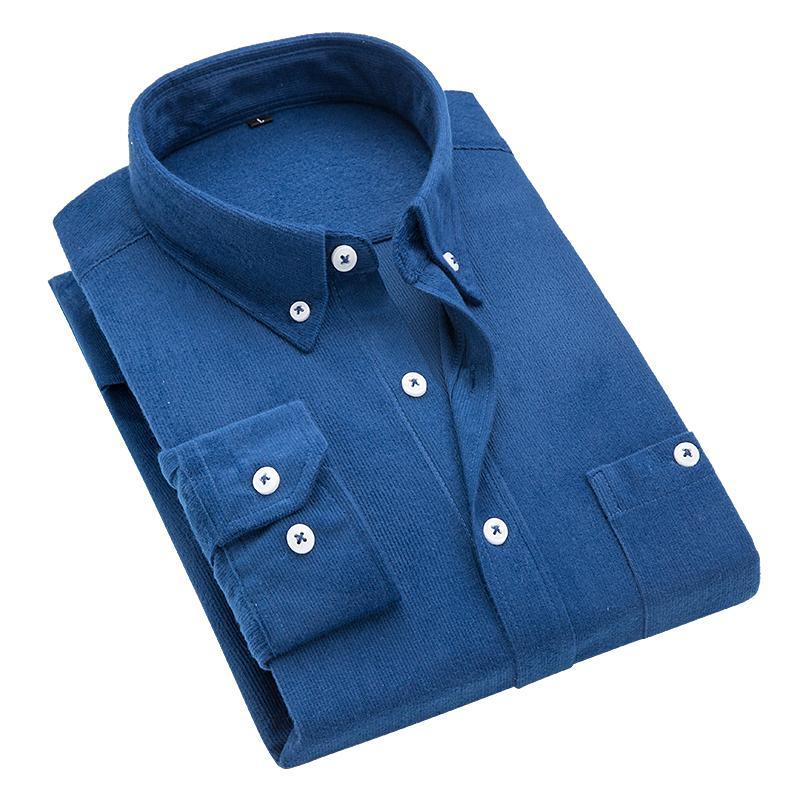 2020 Printemps Corduroy Homme Chemise de couleur unie à manches longues coréenne Slim T-shirt pour hommes, mode grande taille d'affaires shirt pour hommes S-5XL