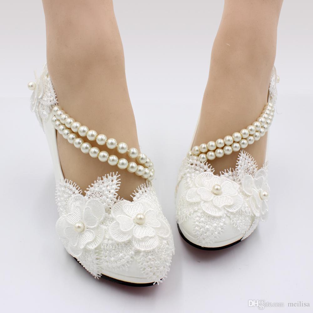 Scarpe Da Sposa Con Pizzo.Acquista Scarpe Da Sposa Donna Con Fasciatura In Pizzo Bianco