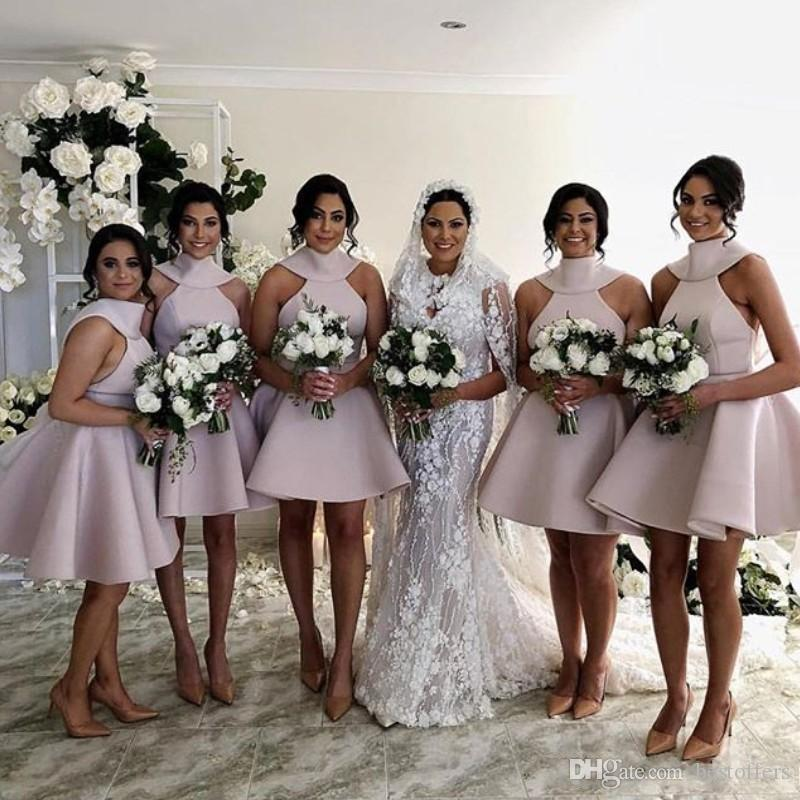 Knee Length Bridesmaid Dresses 2019 Halter Backless Big Bow Short Black Maid Of Honor Wedding Guest Party Gowns Bm0695 Green Bridesmaid Dress Kids Bridesmaid Dresses From Bestoffers 61 81 Dhgate Com,Lace Open Back Beach Wedding Dresses