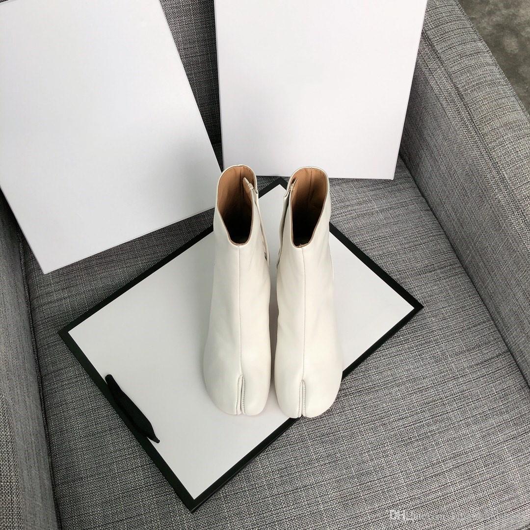 de haute qualité supérieure 2019 nouveaux bottes split-pieds en cuir véritable chaussures femmes talon haut de chaussures de style de la rue de la mode de peau de vache blanche