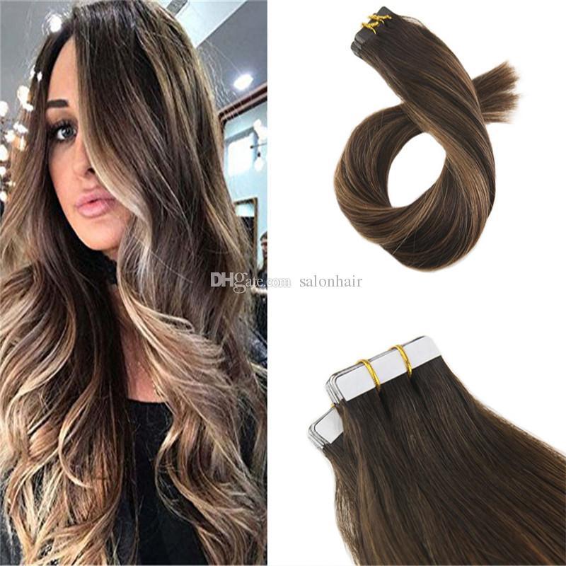머리카락을 입은 테이프 인간의 머리카락 옴 브레 Balayage 20pcs 50g 머리에 가장 어두운 갈색 머리 갈색 확장 테이프