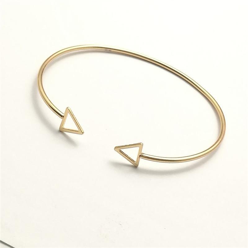 Geometrisches Dreieck rechteckiges Quadrat Open Manschette Punk Armband Armreif