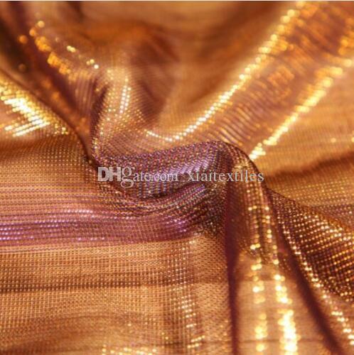 Fashion Shining dazzling purple gold light perspective laser mesh Evening fabric dress diy home textiles patch cloth wedding fabric C569