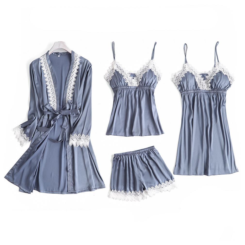 Gris 4pc Pyjama Bracelet Sets Femmes dentelle Top Pantalons Pyjamas Costume Printemps Automne Wear Accueil Notte Sexy Faux robe de soie robe de bain