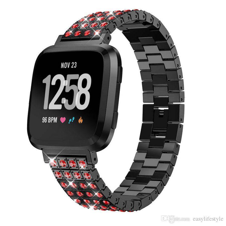 bling metal alloy Replacement Band Bracelet with color Rhinestones Diamond for fitbit versa smartwatch men women