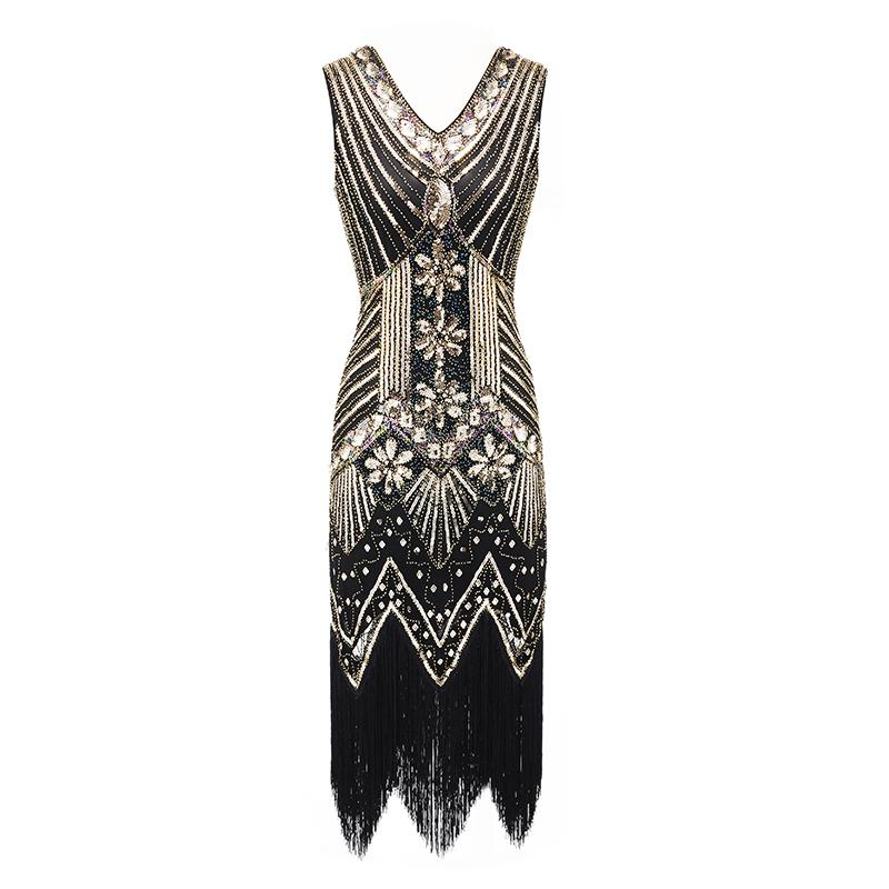 Vintage 1920s V Neck Flapper Dress Great Gatsby Evening Party Cocktail Dress UK