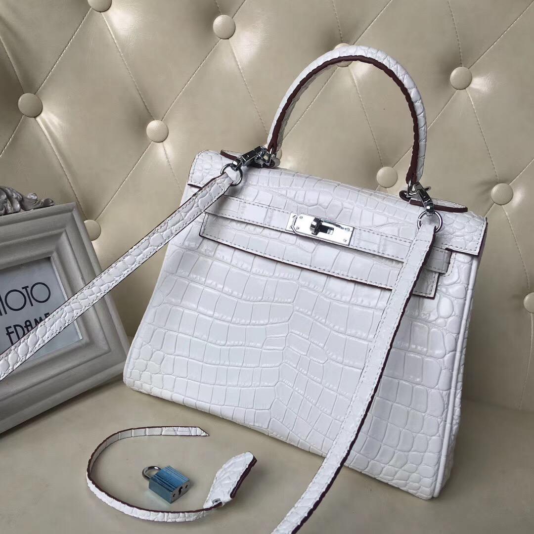 2020 Nuovo Aligator borse d'argento fibbia 28CM borse di modo genuino borse a spalla in pelle borsa in pelle Tote il trasporto libero delle donne