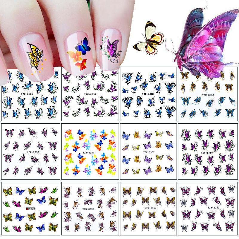 12 Nagel-Aufkleber-Set 3D-Schmetterlings-Reihe Wasserzeichen Nagel Aufkleber Aufkleber DIY Schmuck