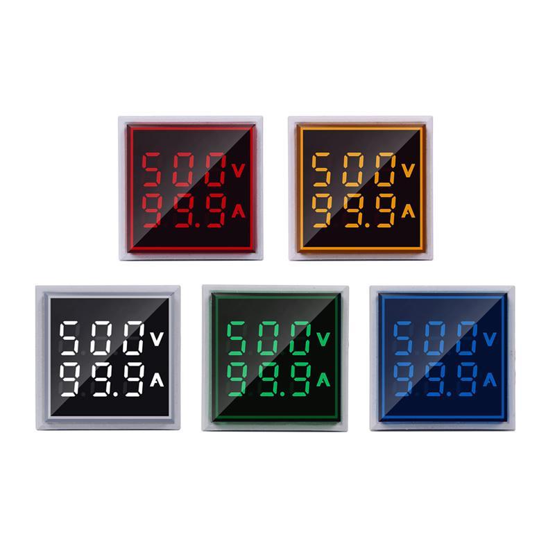 Metros QUIPOS Instrumentos de tensión cuadrado LED Digital del amperímetro del voltímetro del voltaje de voltio las luces de señales Combo Medidor de Corriente indicador del regulador ...