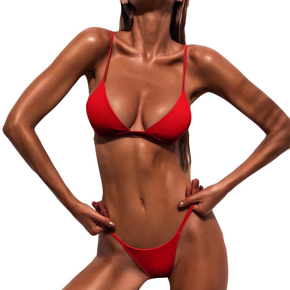 Sujetador acolchado Conjunto de bikini de playa Traje de baño Traje de baño Traje de baño de playa Traje de baño de playa Bikini de bikini 2018 Tanga