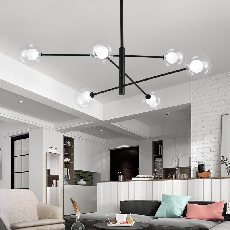 Nordic Led Chandelier Black Light, Living Room Light Fixtures