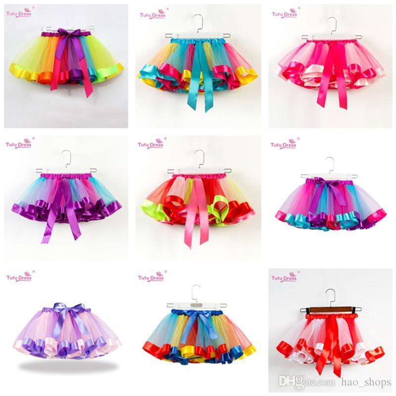 Les filles arc-en-Tutu Jupe Tulle Danse Ballet Robe enfant en bas âge arc-en-Bow Mini Party Pettiskirt danse Tulle Jupes Robes-L 19 Couleurs 2020