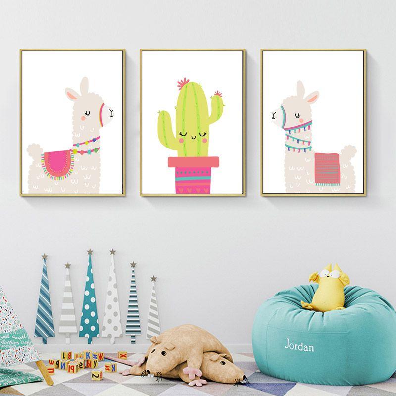 Llama Alpaka Baskı Kreş Duvar Sanatı Tuval Boyama Kaktüs Nordic Posterler ve Baskılar Karikatür Duvar Resimleri Çocuk Odası Dekor için