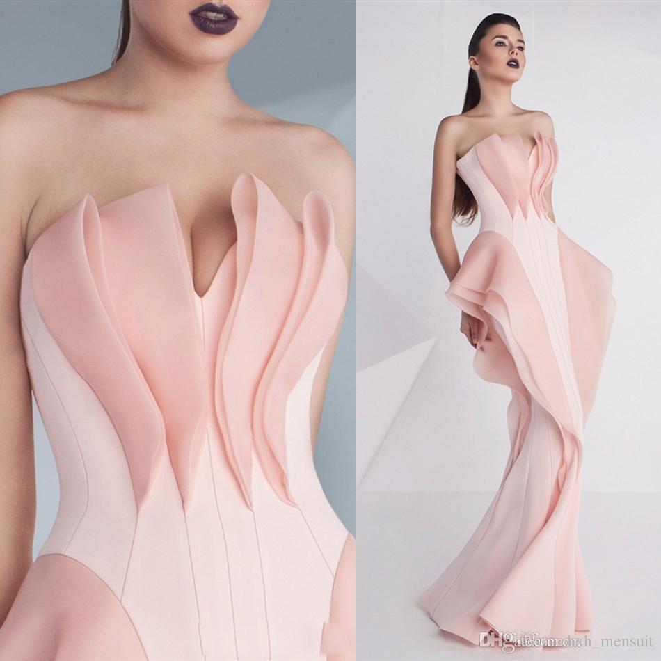 Único Mermaid Evening vestidos sem mangas querido Ruffles 2020 Prom Vestidos Varrer Tapete Vermelho Train Primavera Mnmcouture Formal vestido de festa 607