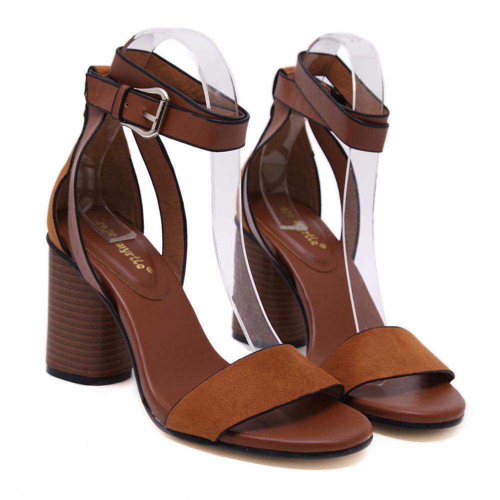 2019 Verão Saltos Grossos Sandálias Bombas Rebanho Mulheres Ankle Wrap Sandálias Sandálias Dedo Aberto Sandalias De Salto Alto
