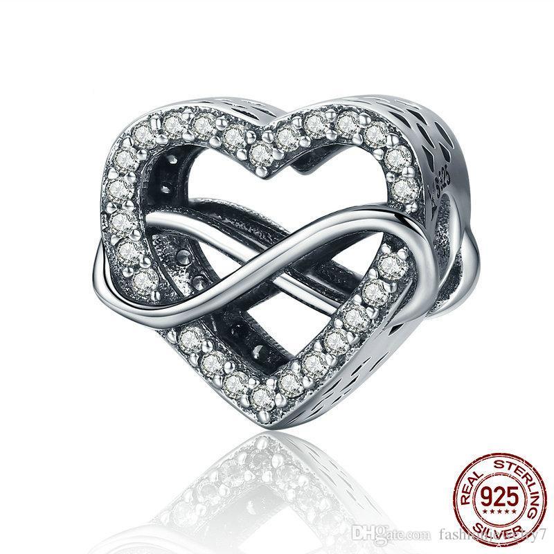 Original 925 Sterling Silber Charme Romantische Endlose Liebe Herz Funkelnde Perlen Fit Armbänder Frauen DIY Jewelry Yiwu Schmuck Fabrik