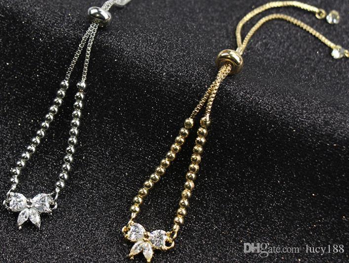 Couple bracelet style chaud Zircon brillant fille papillon bracelet socialite sweet joker rond bracelet perle bijoux en gros expédition de baisse