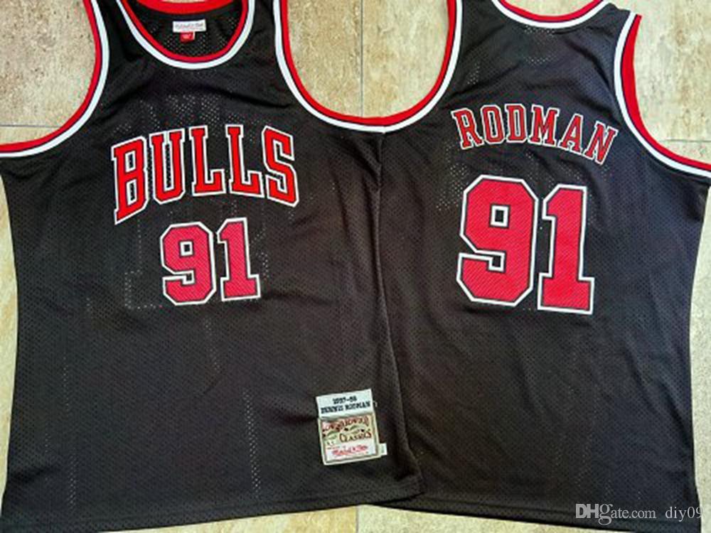 Rodman ThrowbackChicagoTouros Jersey 91 Dennis Rodman Mitchell Ness Hardwood VintageClassics Preto Equipamentos de Basquetebol