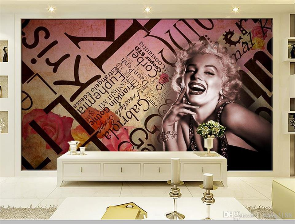 custom size 3d photo wallpaper mural living room sex goddess Marilyn Monroe 3d picture sofa TV backdrop wall wallpaper non-woven sticker