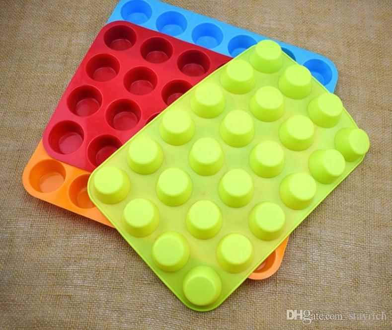Moldes de silicona Mini Muffin Copa 24 Pastel de silicona cavidad de la bandeja de jabón moldes para hornear galletas de la magdalena cacerola del molde de la torta del molde DIY Inicio