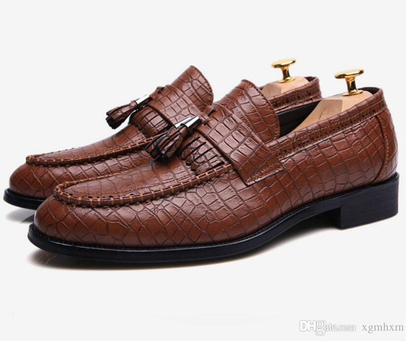 New Brand Fashion Soft crocodile Leather Breathable Men's Shoes Tassel Mocassins Men Loafers 3 color nx2a36