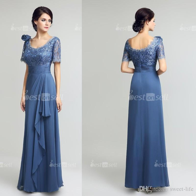 Long Steel Mother of the Bride Dresses Chiffon Lace A Line Ruffles Floor Length Mothers Dress 2020 Evening Party Gown LX274
