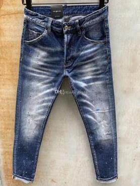 Новый стиль бренд D2 мужские джинсы джинсовые Жан вышивка Тигр брюки отверстия D2 джинсы молния Мужские брюки узкие dsquared2 джинсы мужчины 0000 00013b30#